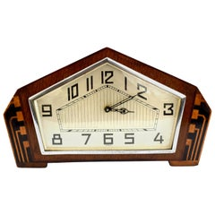 Art Deco Walnut Mantle Clock, England, c1930s