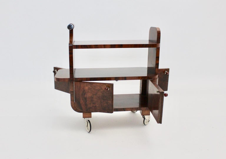 Art Deco Walnut Nickel Vintage Bar Cart Side Table, Vienna, circa 1930 For Sale 7