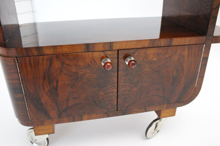 Art Deco Walnut Nickel Vintage Bar Cart Side Table, Vienna, circa 1930 For Sale 8