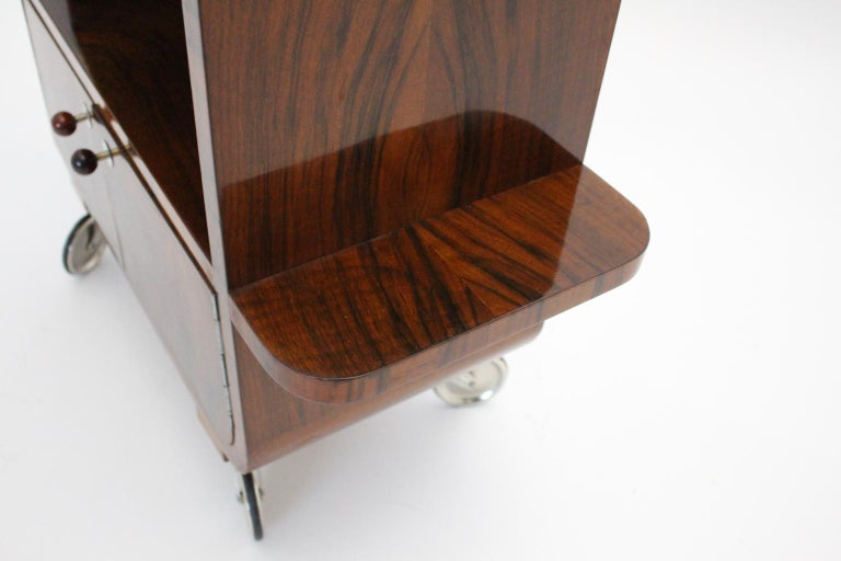 Art Deco Walnut Nickel Vintage Bar Cart Side Table, Vienna, circa 1930 For Sale 12