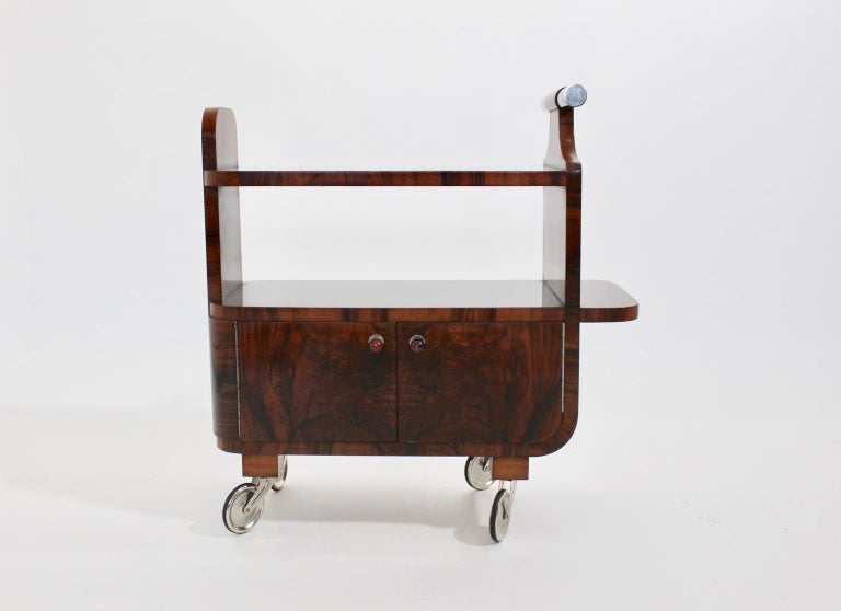 Austrian Art Deco Walnut Nickel Vintage Bar Cart Side Table, Vienna, circa 1930 For Sale