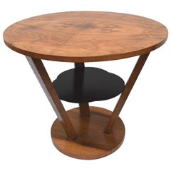 Art Deco Walnut Occasional Three-Tier Table, circa 1930