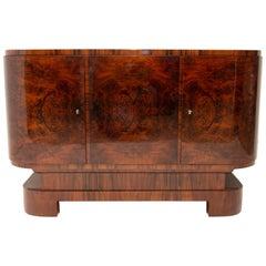 Art Deco Walnut Oval Bar or Sideboard, 1930s, Bohemia