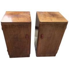 Art Deco Walnut Pair of Bedside Cabinets