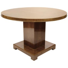 Art Deco Walnut Round Dining Table, Germany, circa 1930