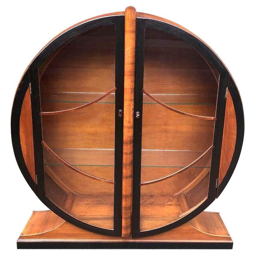 Art Deco Walnut Round Vitrine Display Cabinet, England, 1930's