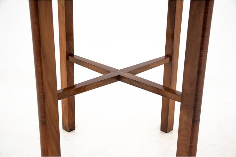 Polish Art Deco Walnut Side Coffee Table For Sale