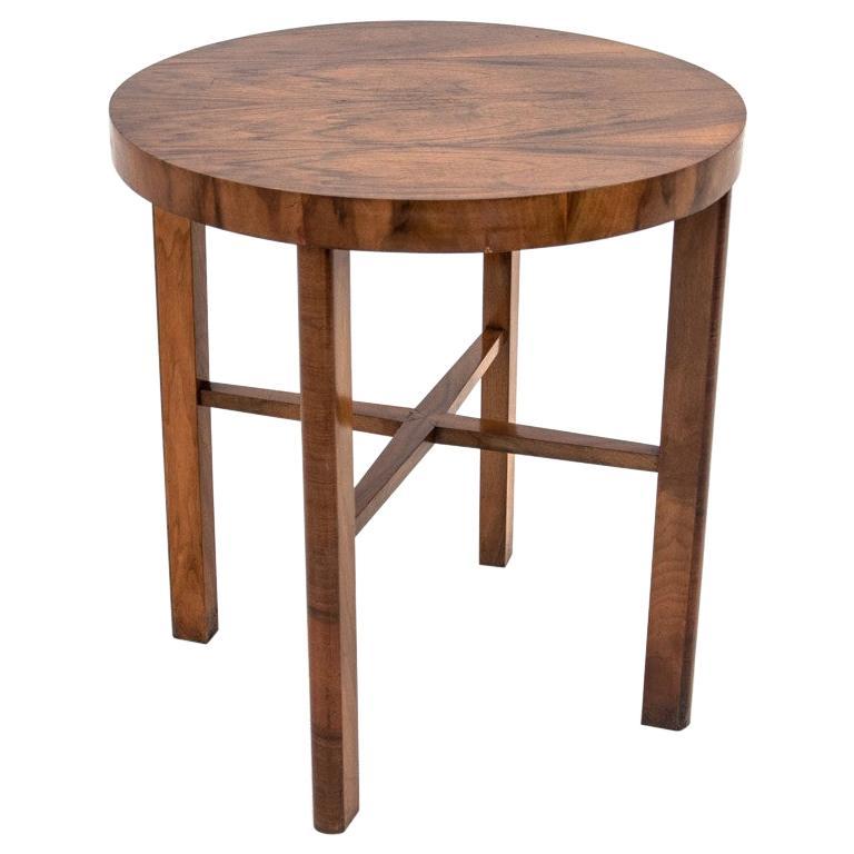 Art Deco Walnut Side Coffee Table For Sale