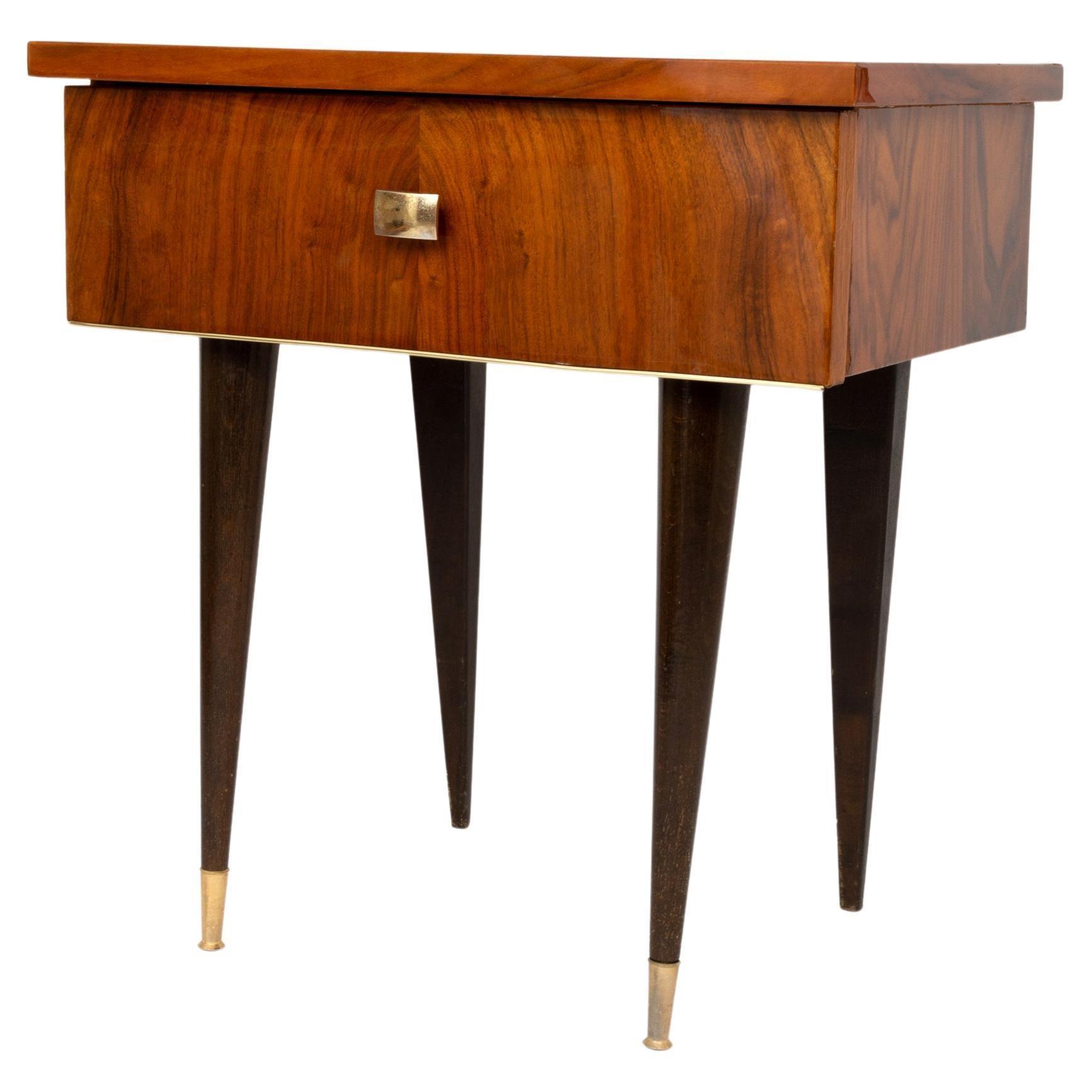Art Deco Walnut Side Table Night Stand, France, C.1940