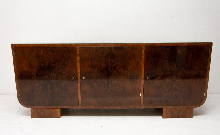 Czech Art Deco Walnut Sideboard, 1930s, Bohemia For Sale