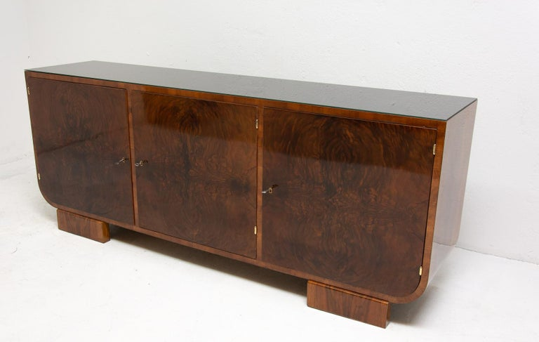 Art Deco Walnut Sideboard, 1930s, Bohemia In Excellent Condition For Sale In Prague 8, CZ