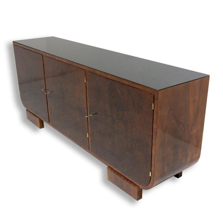 Mid-20th Century Art Deco Walnut Sideboard, 1930s, Bohemia For Sale