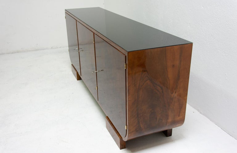 Art Deco Walnut Sideboard, 1930s, Bohemia For Sale 1