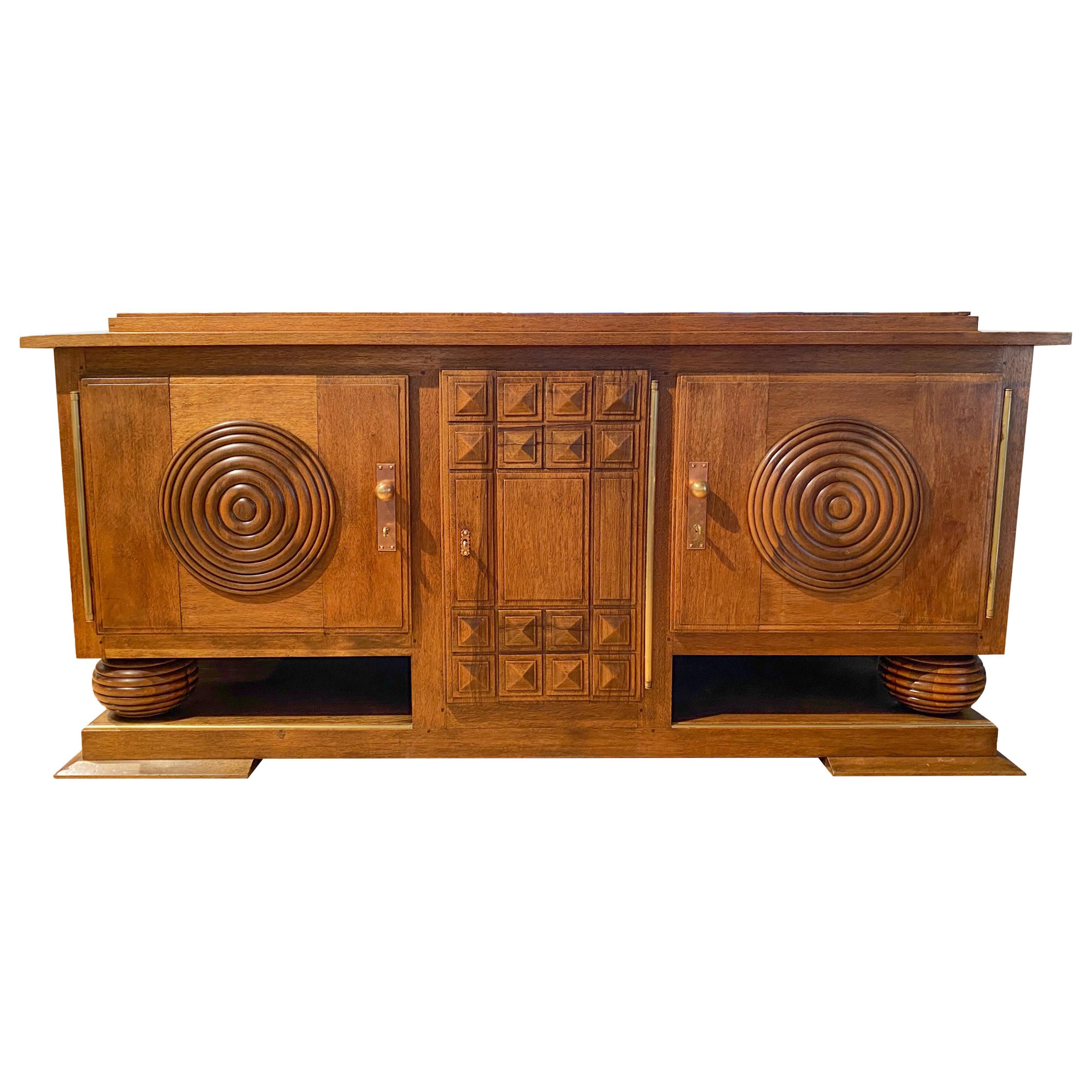 Art Deco Walnut Sideboard, circa 1940, France