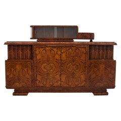Art Deco Walnut Sideboard Credenza