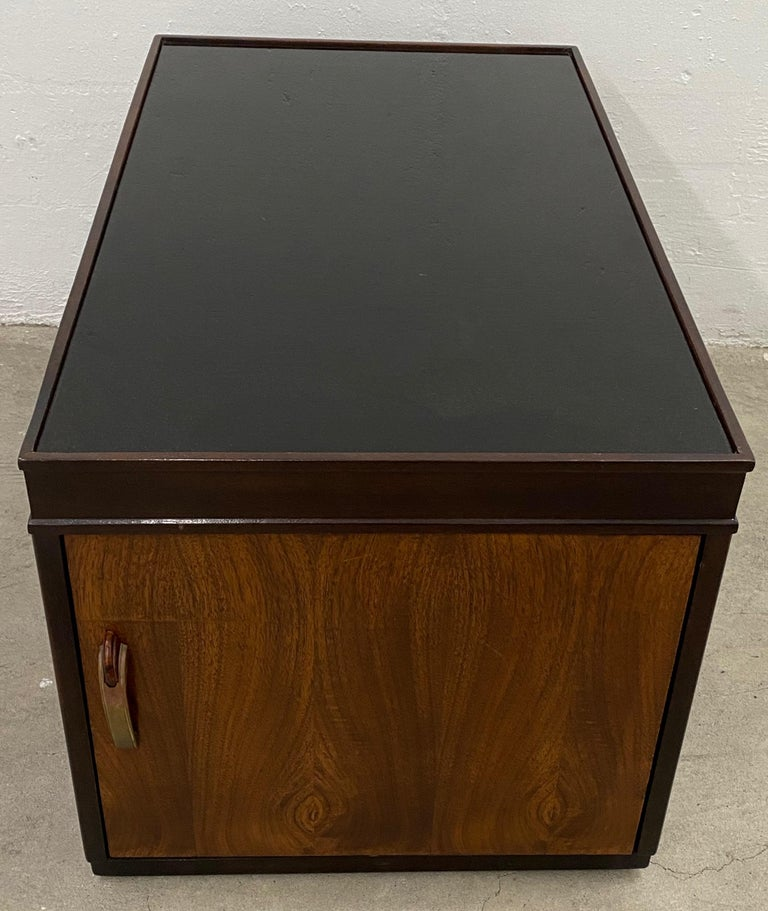 American Art Deco Walnut and Smokey Glass Bar / Cocktail Table, circa 1920s For Sale