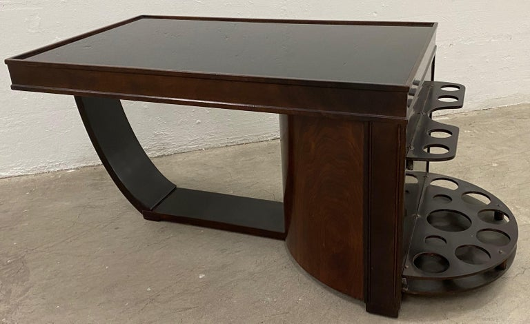 Art Deco Walnut and Smokey Glass Bar / Cocktail Table, circa 1920s In Good Condition For Sale In San Francisco, CA