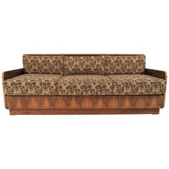 Art Deco Walnut Sofa Bed, 1960s