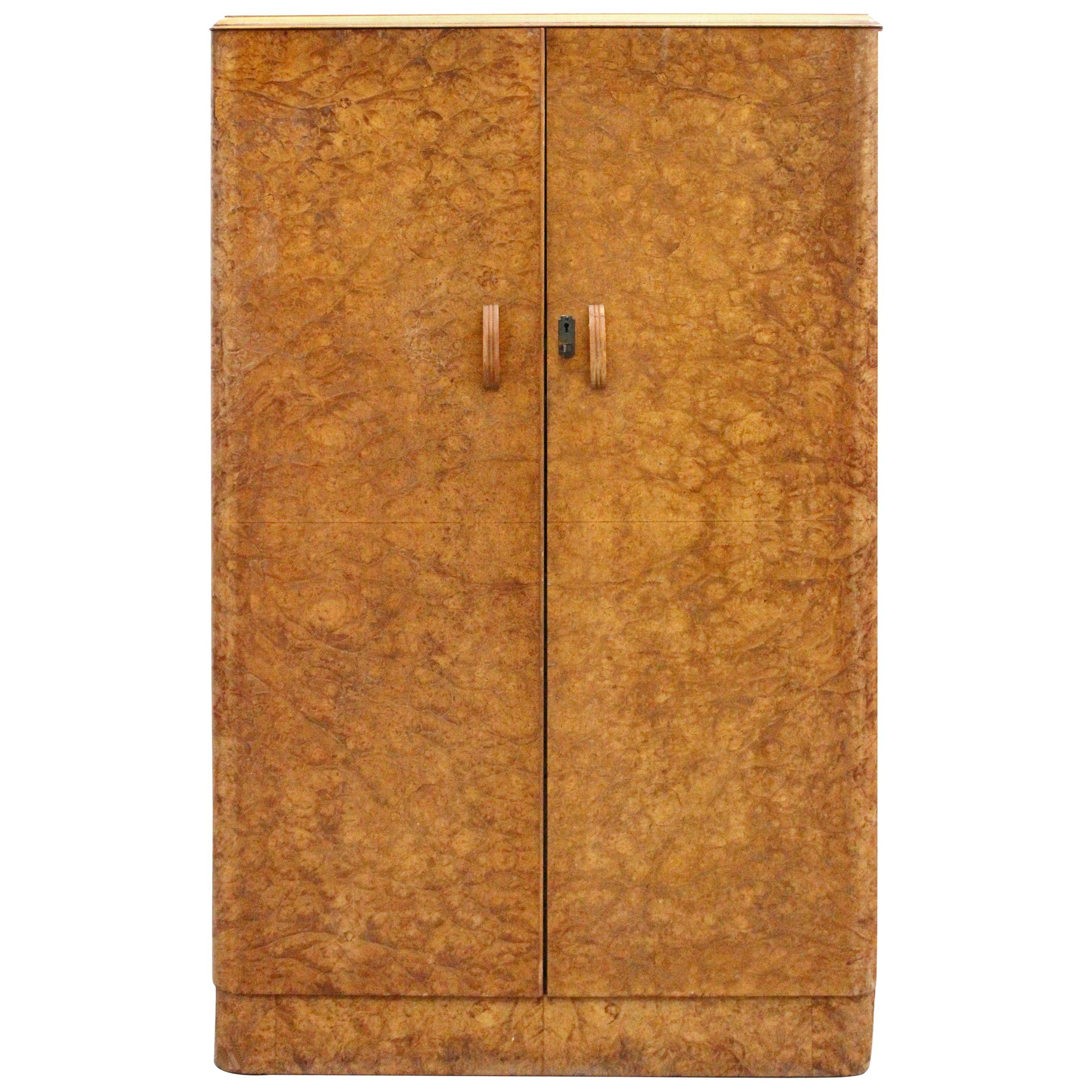 Art Deco Walnut Tallboy Linen Cupboard, circa 1930
