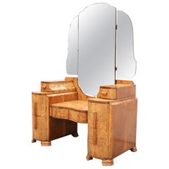 Art Deco Walnut Triple Mirror Dressing Table, circa 1930