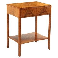 Art Deco Walnut Two Drawer Side Table, c1930