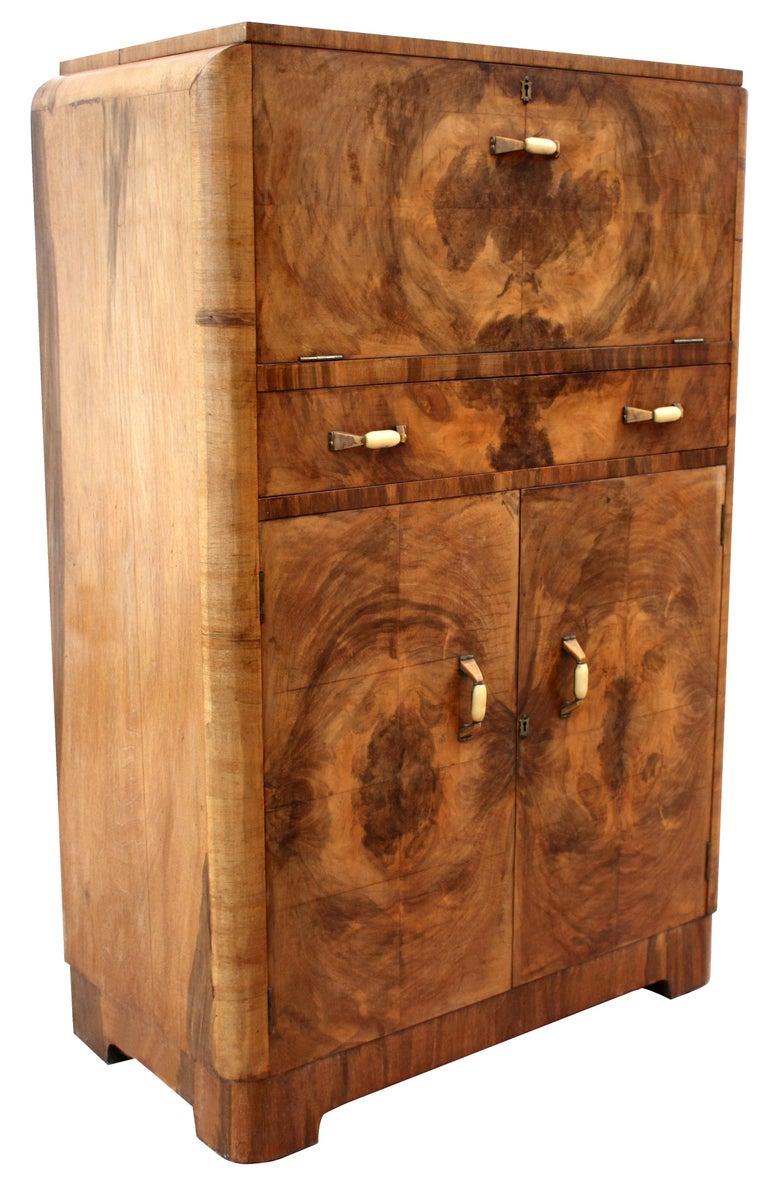 20th Century Art Deco Walnut Upright Cocktail Cabinet, English, circa 1930s For Sale