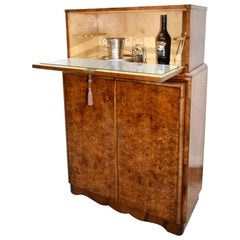 Art Deco Walnut Upright Dry Bar, Cocktail Cabinet, circa 1930s