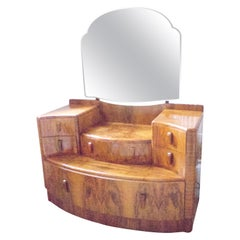Art Deco Walnut Veneer Dressing Table with Six Drawers and Large Mirror, 1930s