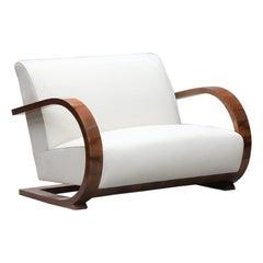 Art Deco Walnut Veneer Italian Sofa