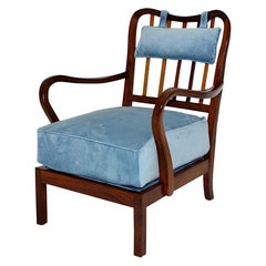 Art Deco Walnut Vintage Lounge Chair Armchair Attr. Oswald Haerdtl 1930s Vienna