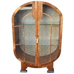 Art Deco Walnut Vitrine Display Cabinet, 1930s