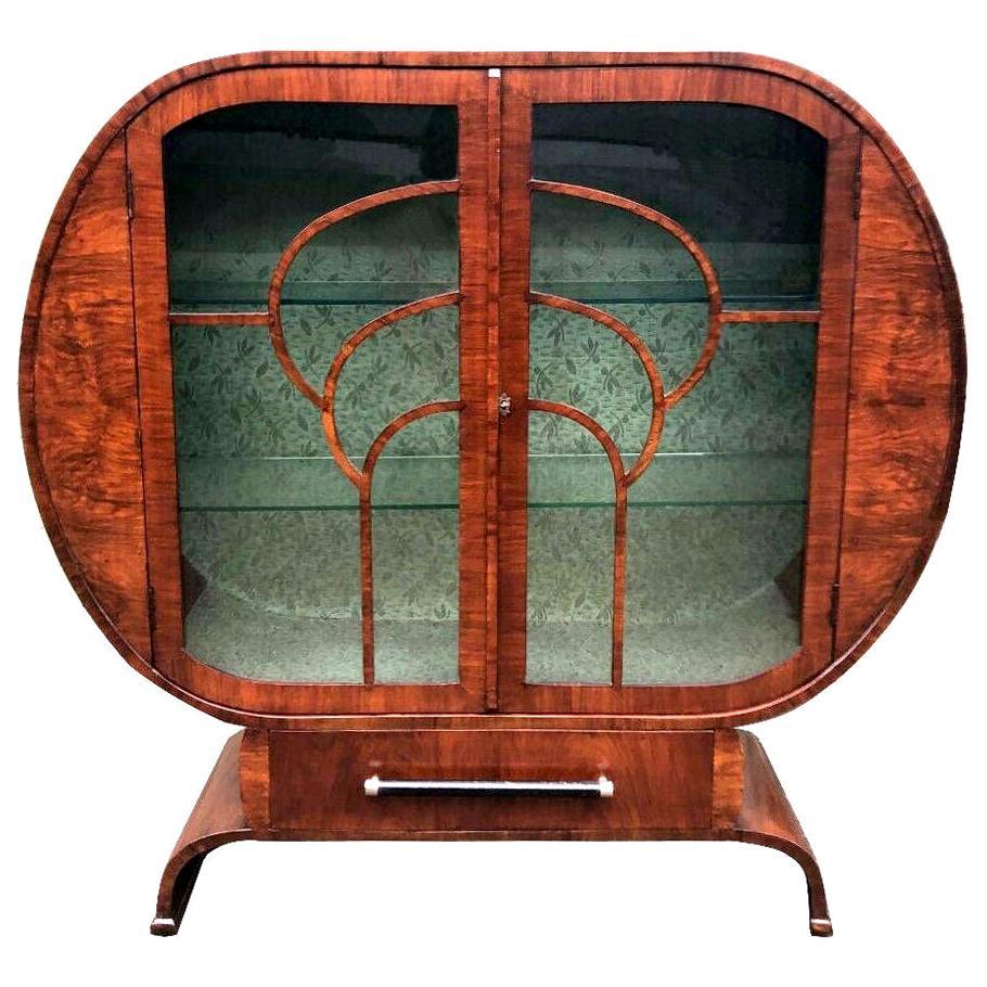 Art Deco Walnut Vitrine Display Cabinet, England, c1930's