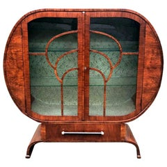 Art Deco Walnut Vitrine Display Cabinet, England, c1930's