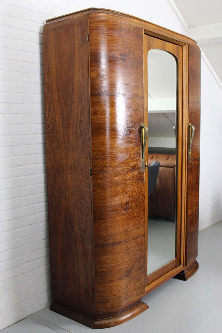 Art Deco Walnut Wardrobe Cabinet by Guerin, Paris, 1920 For Sale 8