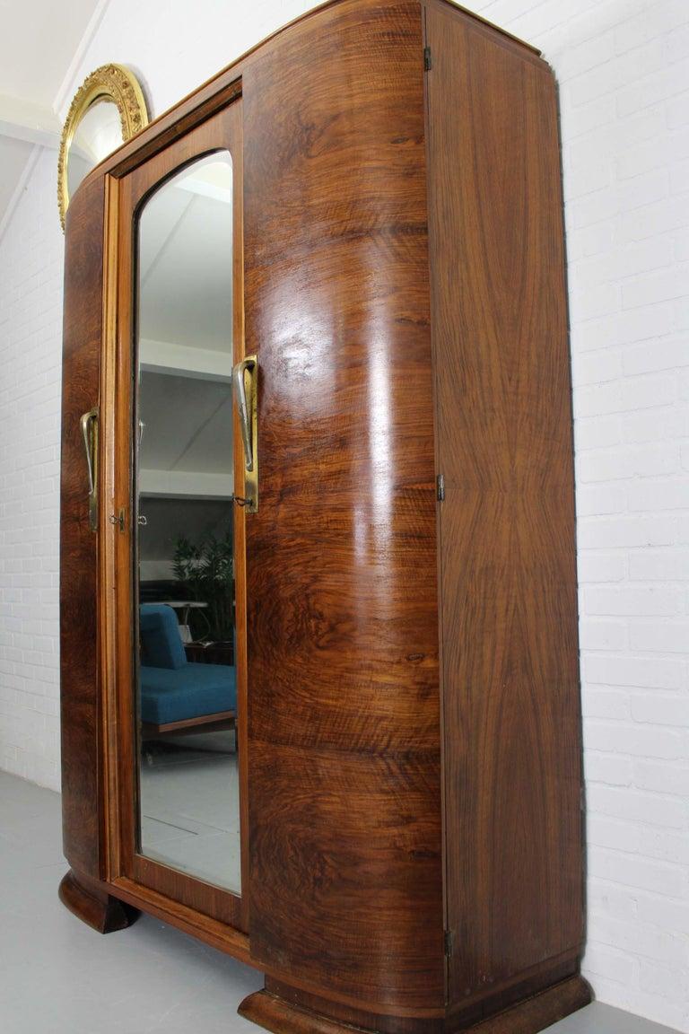 Art Deco Walnut Wardrobe Cabinet by Guerin, Paris, 1920 For Sale 9