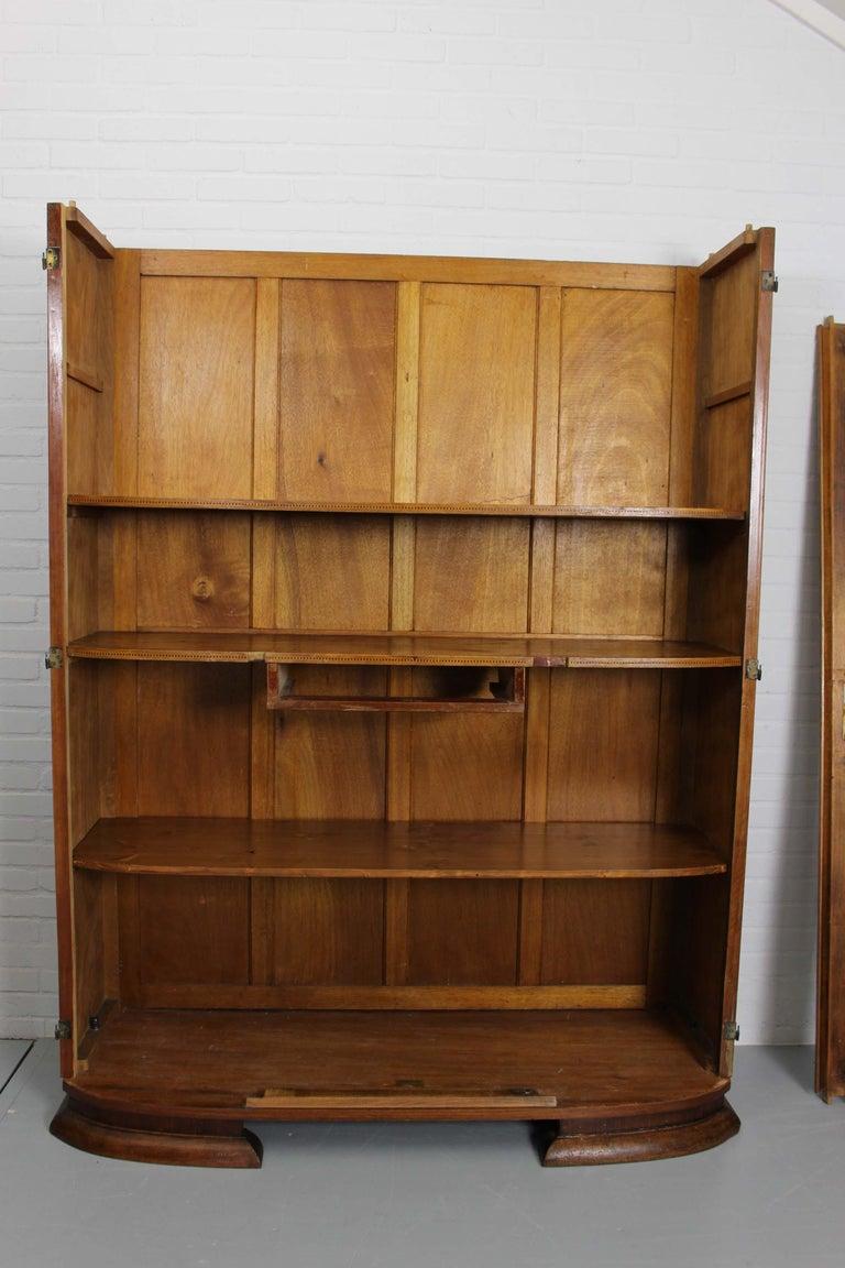 Art Deco Walnut Wardrobe Cabinet by Guerin, Paris, 1920 For Sale 12