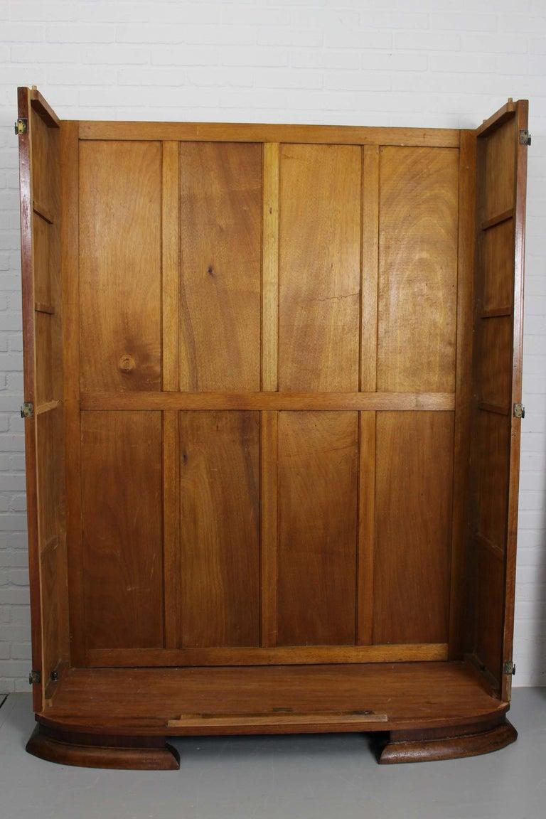 Art Deco Walnut Wardrobe Cabinet by Guerin, Paris, 1920 For Sale 13