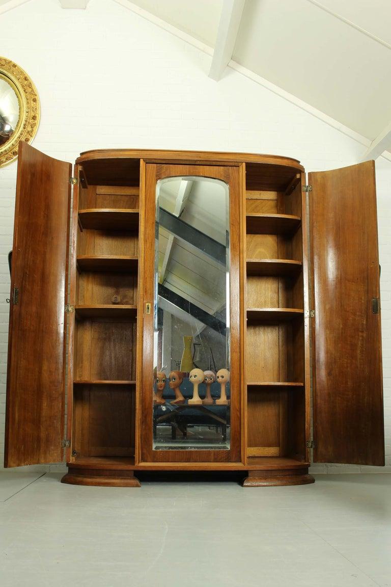 French Art Deco Walnut Wardrobe Cabinet by Guerin, Paris, 1920 For Sale