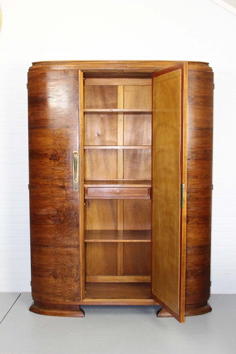 20th Century Art Deco Walnut Wardrobe Cabinet by Guerin, Paris, 1920 For Sale