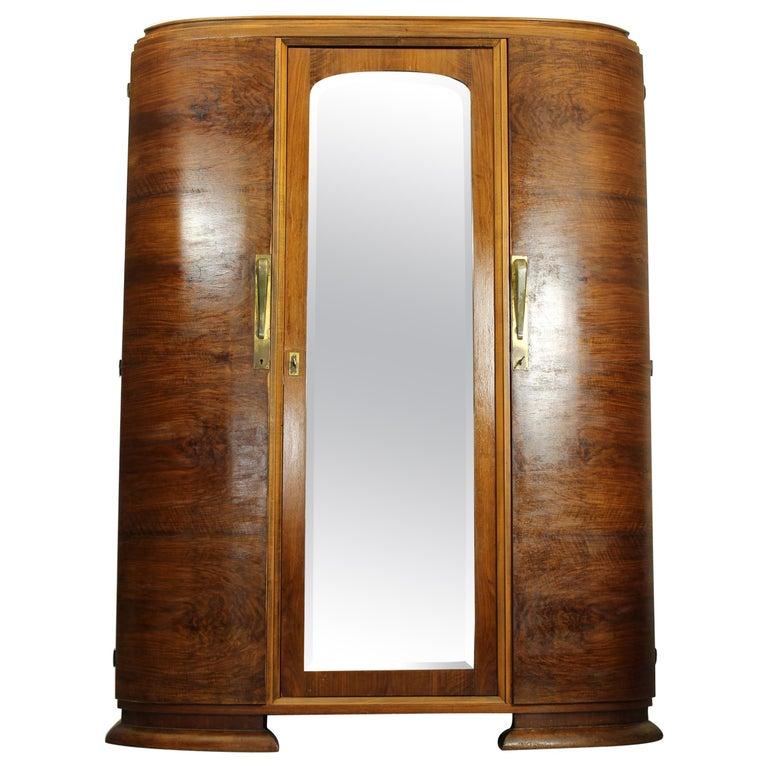 Art Deco Walnut Wardrobe Cabinet by Guerin, Paris, 1920 For Sale
