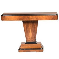 Art Deco Walnut Wood and Black Ebonized Lacquered Details Table Console