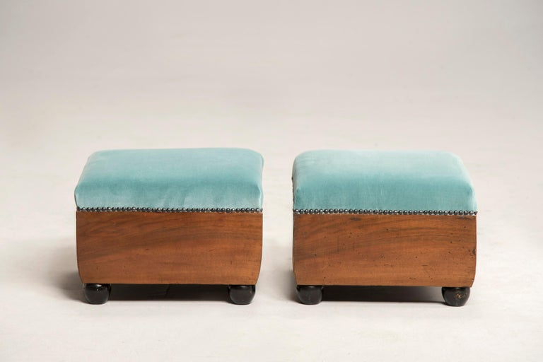 Art Deco Walnut Wood Armchairs and Ottomans in Light Green Velvet For Sale 11
