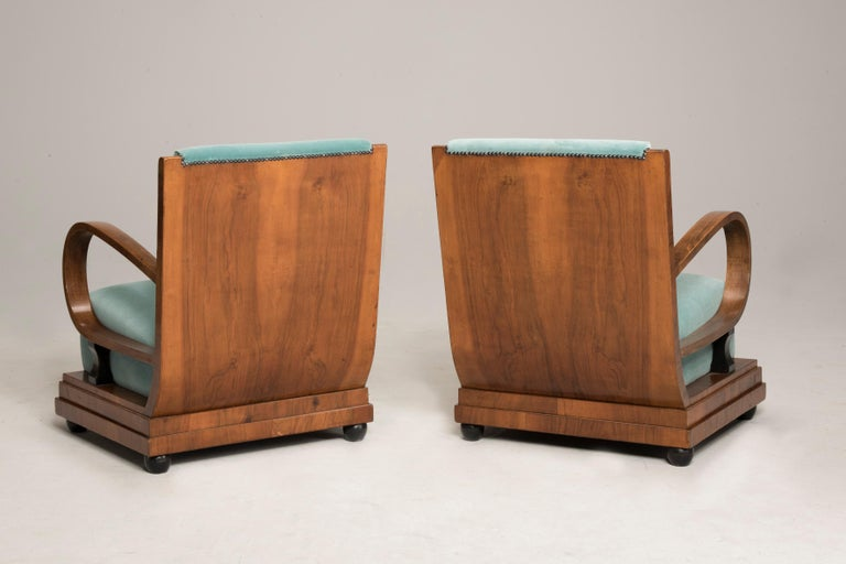 20th Century Art Deco Walnut Wood Armchairs and Ottomans in Light Green Velvet For Sale