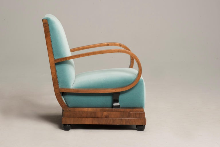 Art Deco Walnut Wood Armchairs and Ottomans in Light Green Velvet For Sale 3