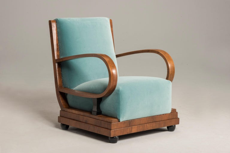 Art Deco Walnut Wood Armchairs and Ottomans in Light Green Velvet For Sale 4