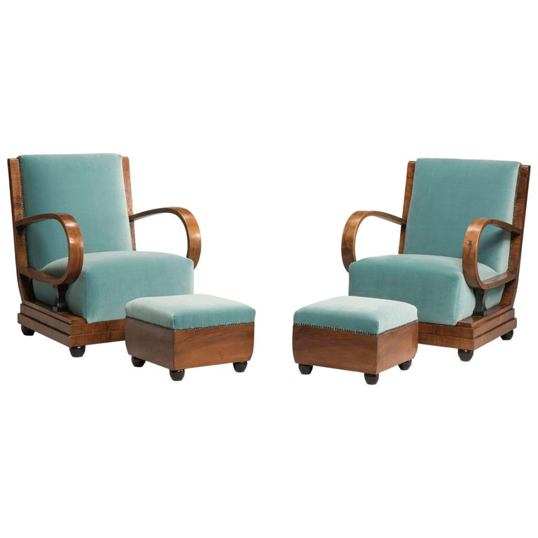 Art Deco Walnut Wood Armchairs and Ottomans in Light Green Velvet For Sale