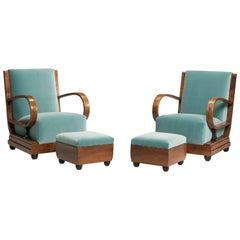 Art Deco Walnut Wood Armchairs and Ottomans in Light Green Velvet