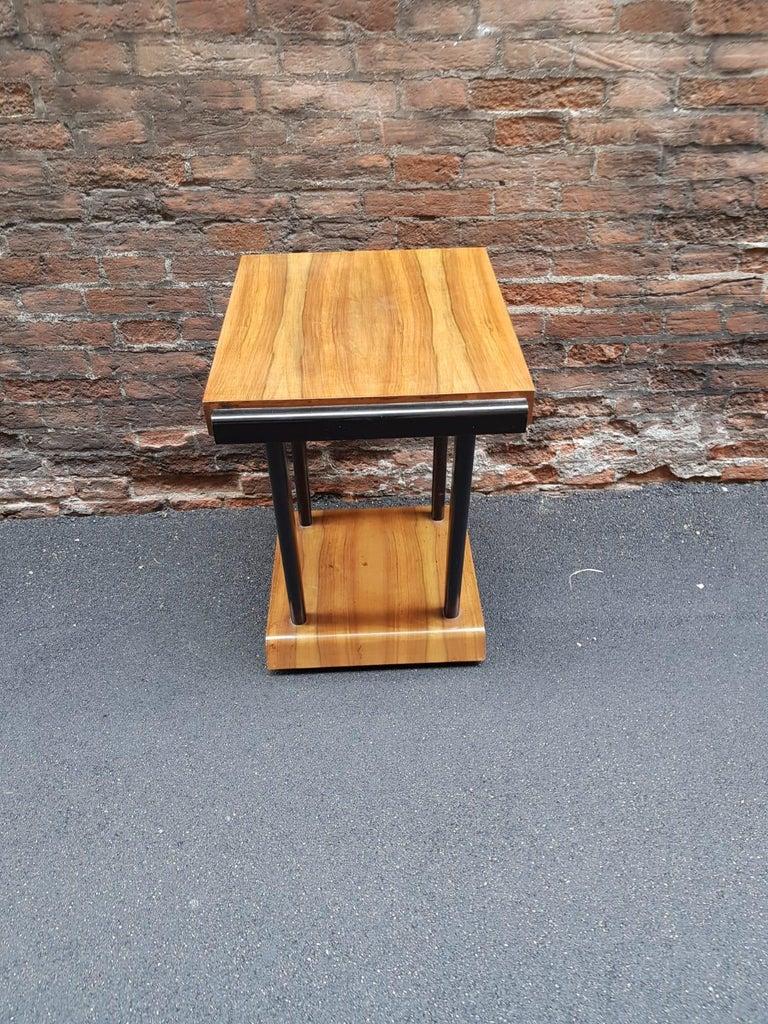 Art Deco Walnut Wood Black Ebonized Legs Squared Side or Coffee Table For Sale 7