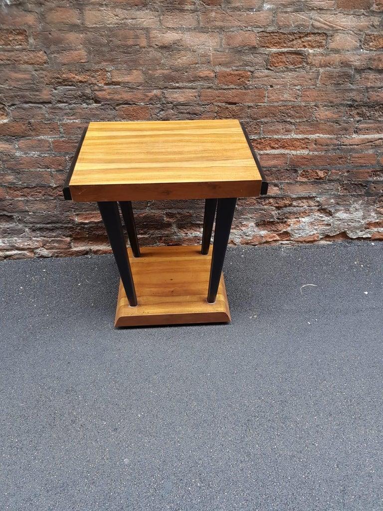 Art Deco Walnut Wood Black Ebonized Legs Squared Side or Coffee Table For Sale 8