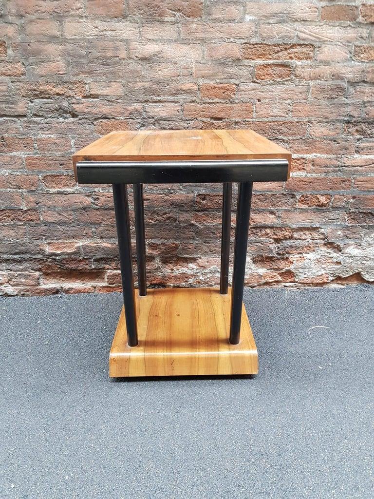 Art Deco Walnut Wood Black Ebonized Legs Squared Side or Coffee Table For Sale 9